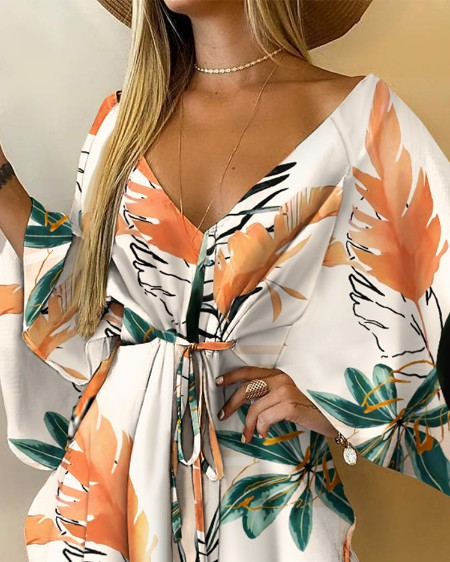 Floral Print V-Neck Batwing Sleeve Tie Front Mini Dress