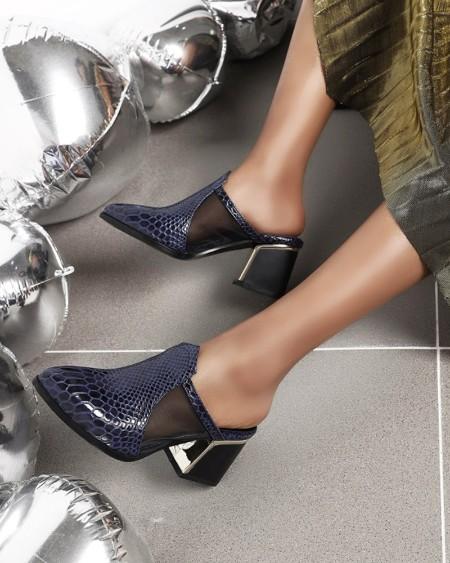 Womens Crocodile Print Mesh Patchwork Point Toe High Heel Mules