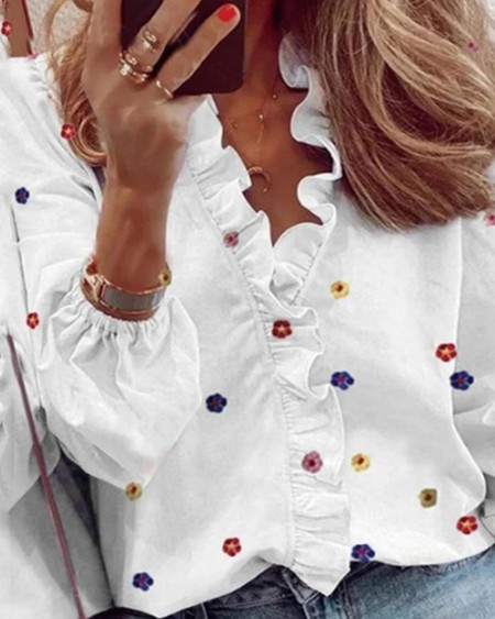 Flower Long Sleeve Loose Ruffles Button-up Blouse