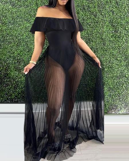 Off Shoulder Ruffle Hem Sheer Mesh Maxi Dress