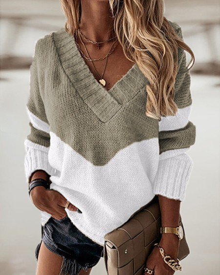 Colorlock Long Sleeve Casual Sweater