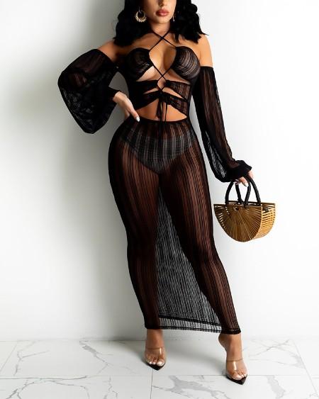 See Through Mesh Cutout Halter Long Sleeve Bodycon Dress