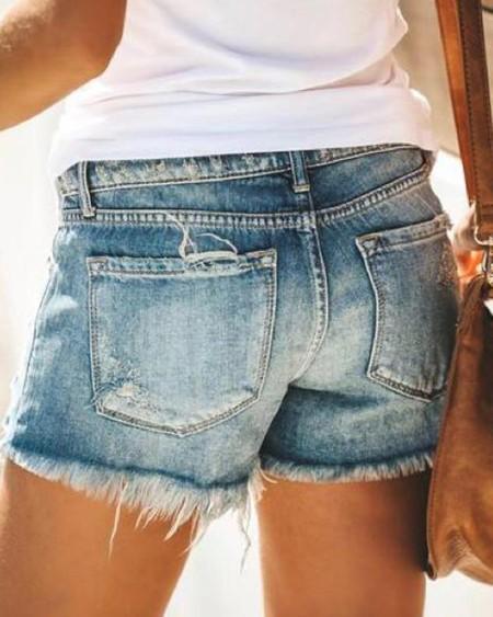 Frayed Hem Distressed Denim Shorts