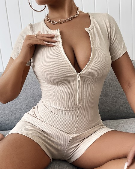 Solid Color Skinny Zipper Rib-knit Rompers