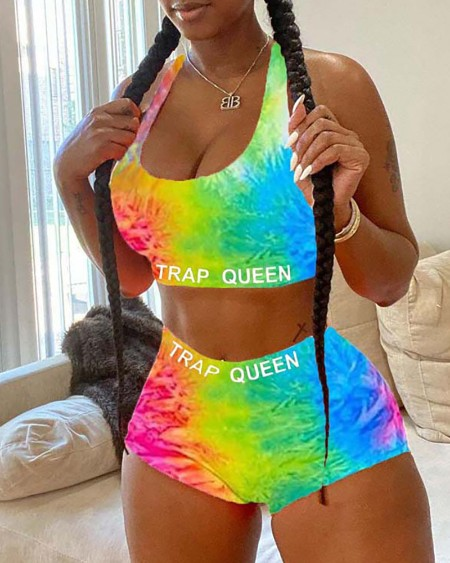 Tie Dye/Cartoon Print Plus Size Top & Short Sets