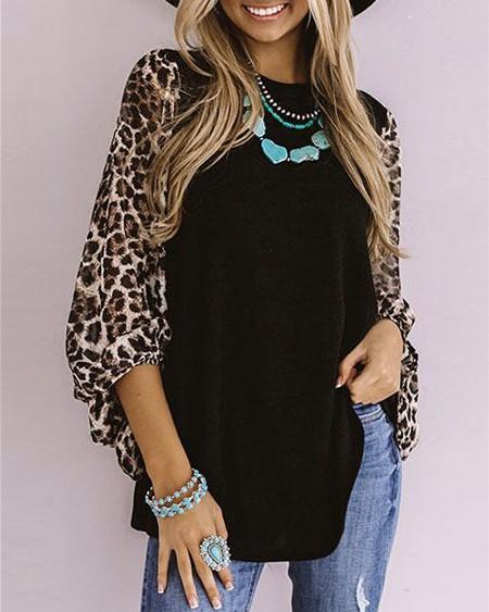 Cheetah Print Colorblock O Neck Casual T-Shirt