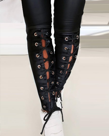 Solid Color PU Leather Eyelet Lace-Up Skinny Pants
