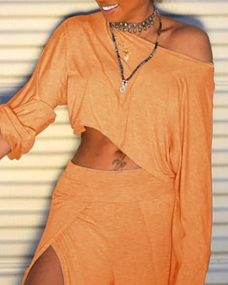 Solid Long Sleeve T-shirt & Slit Pant Sets