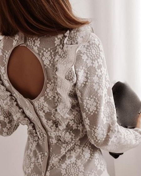 Floral Pattern Lace Ruffles Cutout Back Top