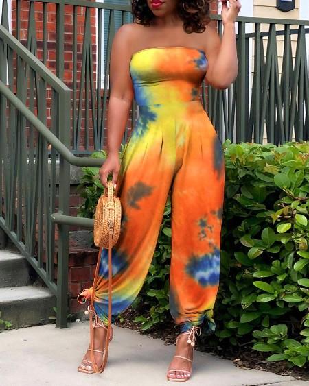 Tie Dyed Floral Print Jumpsuit