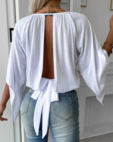 Knotted Backless Batwing Sleeve Top