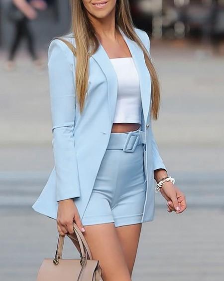 Long Sleeve Blazer Coat & Shorts Set With Belt