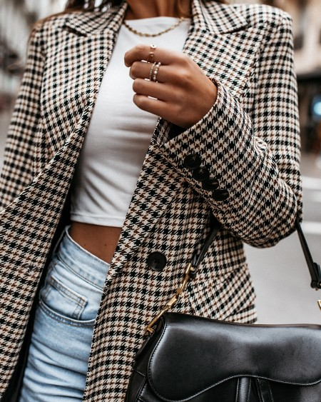 Lapel Collar Double Breasted Flap Detail Plaid Blazer