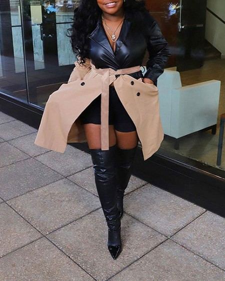 Colorblock PU Leather Double Breasted Belted Trench Coat
