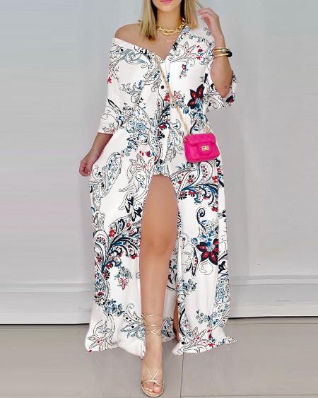 Floral Print Button Up High Slit Shirt Dress
