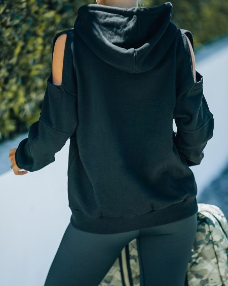 Cold Shoulder Long Sleeve Hooded Sweatshirt