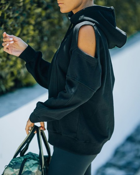 Solid Color Cut-out Long Sleeve Hooded Sweatshirt