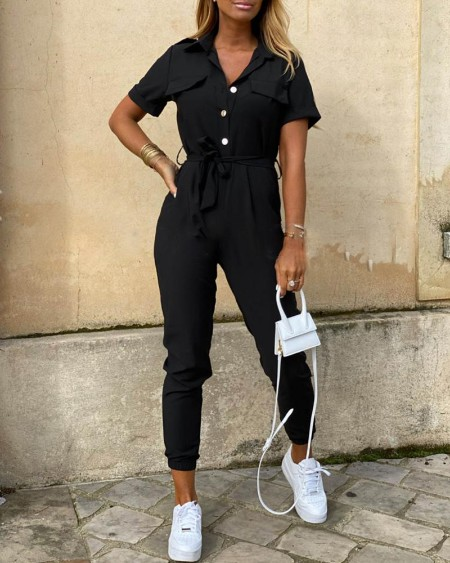 Solid Short Sleeve Buttoned Jumpsuit