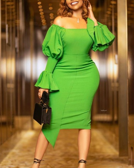 Solid Puff Sleeve Off Shoulder Bodycon Dress