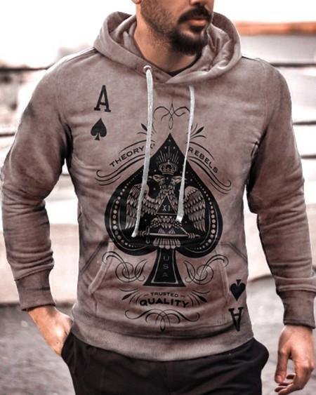 Mens Poker Card Printed Long Sleeve Drawstring Hoodie