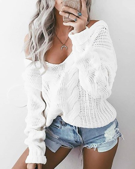 Long Sleeve Hollow Out Knit V-Neck Sweater