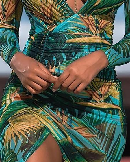 Plunge Ruched Palm Leaf Print Long Sleeve Dress