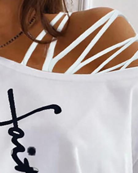 Women's Cold Shoulder Cutout T Shirt Casual Short Letter Print Basic Tops