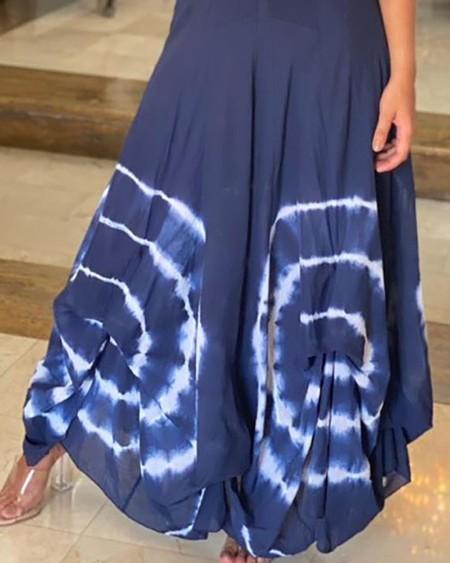 Tie Dye Print Thick Strap Maxi Dress