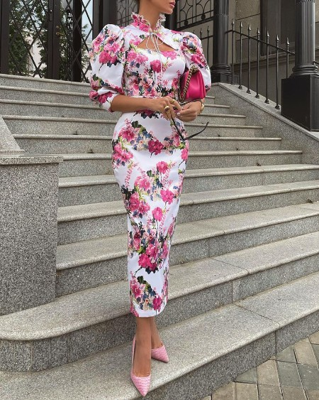 Puff Sleeve Floral Print Frill Hem Cutout Tied Detail Dress