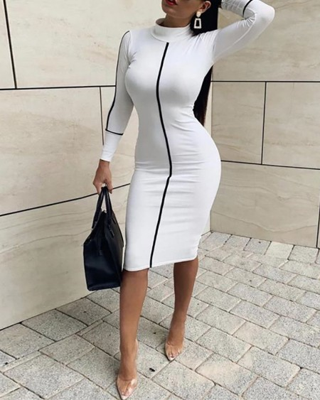 Colorblock Long Sleeve High Neck Midi Dress