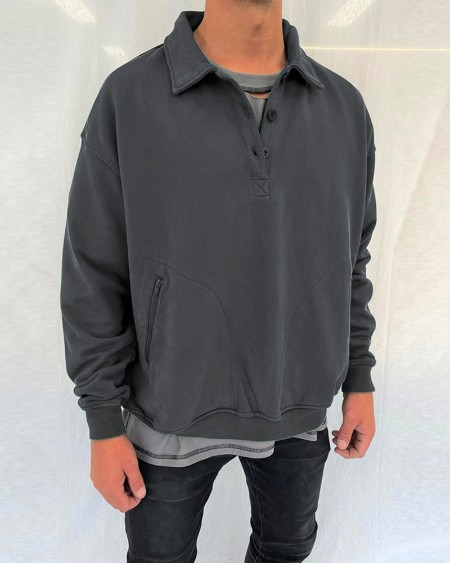 Solid Long Sleeve Polo Pull Over Shirts T-shirts