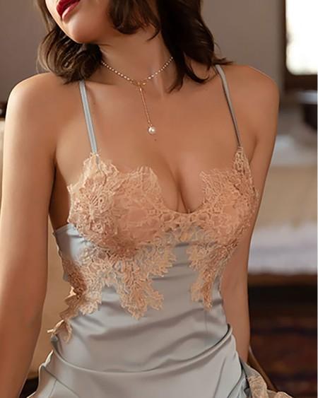 Satin Eyelash Crochet Lace Trim Babydoll