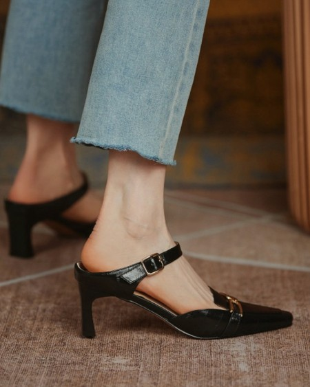 Solid One Bandage Pointed-toe Mule Shoes High Heel Sandals