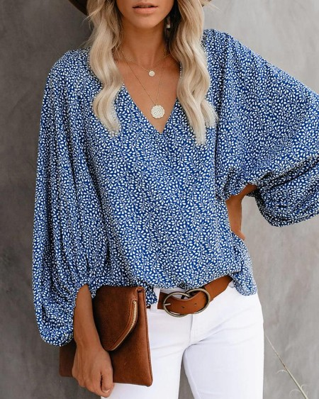 All Over Print Surplice Neck Lantern Sleeve Blouse