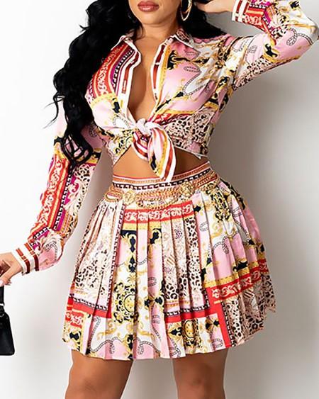 Scarf Print Button Design Shirt & Pleated Skirt Set