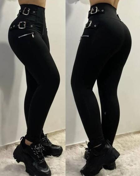 Zipper Design Eyelet Buckled High Waist Pants
