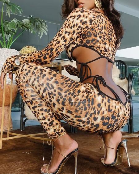 Leopard Print Cut-Out Self Tie Skinny Jumpsuit