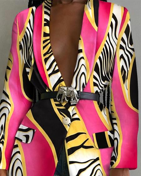 Zebra Stripe Print Shawl Collar Flap Detail Single Button Blazer