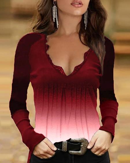 Women's Button Decor Lace Trim Ombre Colorblock Top