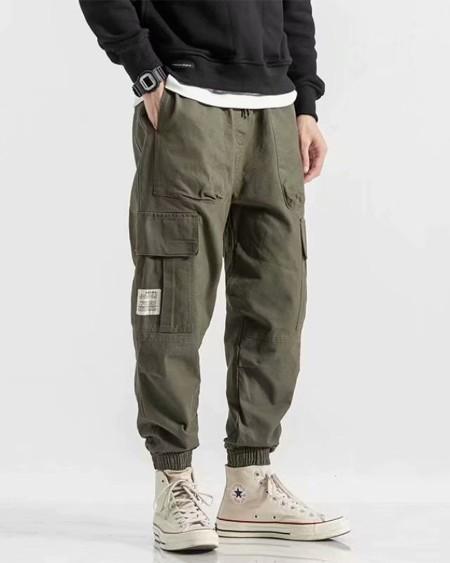 Solid Loose Drawstring Cargo Pants
