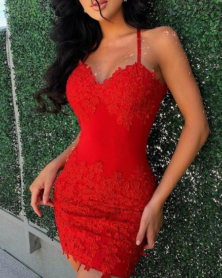 Splicing Lace Solid Color Sleeveless Mini Dress