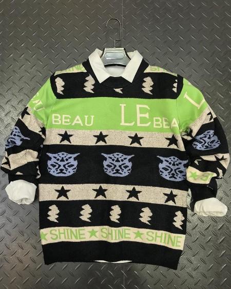Colorblock Patterns Print Long Sleeve Sweater