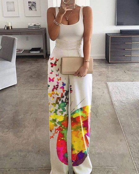 Thick Strap Butterfly Print Colorblock Jumpsuit