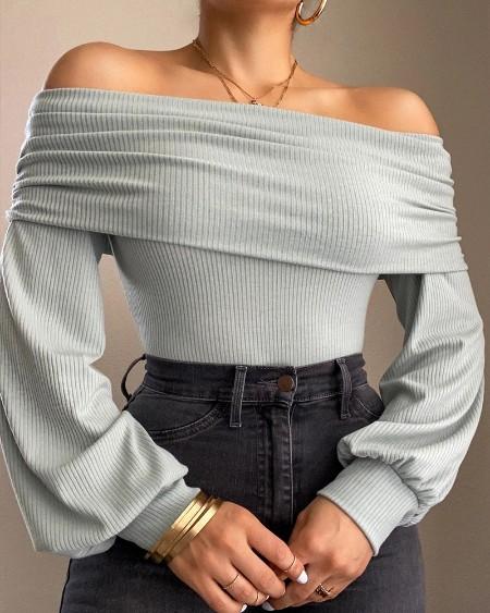 Solid Off Shoulder Ribbed Knit Top