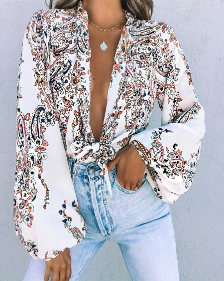 Floral Print Long Sleeve Knot Blouse