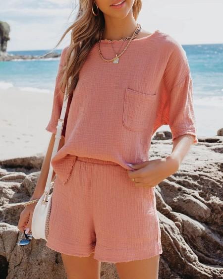 Pocket Design Half Sleeve Slit Top & Shorts Set