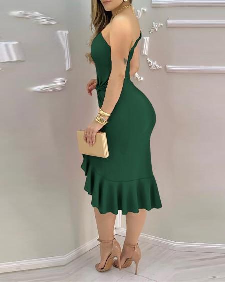 Plain One Shoulder Ruffle Hem Twist Slit Dress Party Solid Sleeveless Bodycon Dress