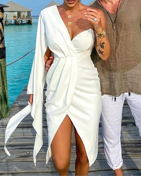 One Shoulder Ruched Irregular Sleeve Party Dress
