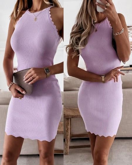 Ribbed Sleeveless Plain Bodycon Dress