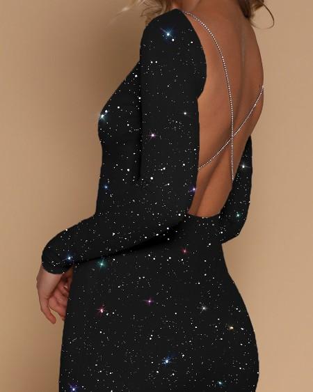 Glitter Crisscross Backless Rhinestone Strap Party Dress